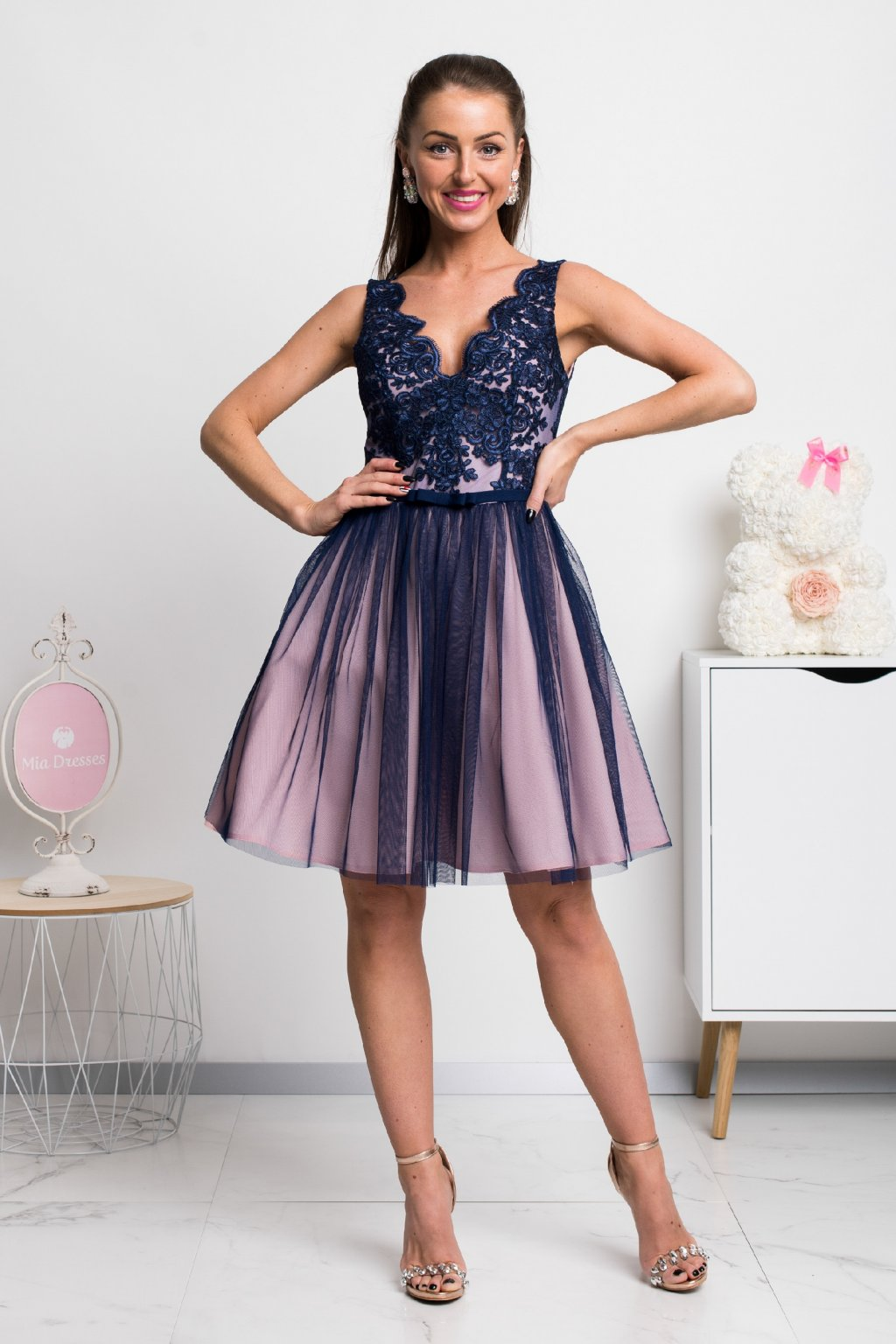 Navy pink lace formal mini dress