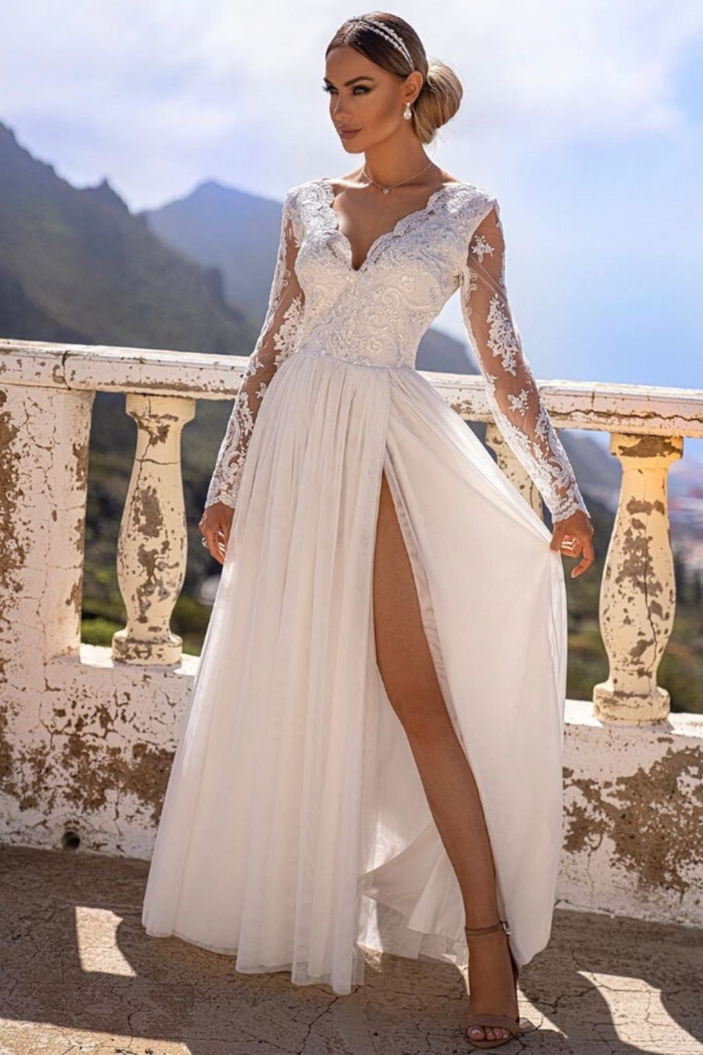 White lace and tulle formal dress
