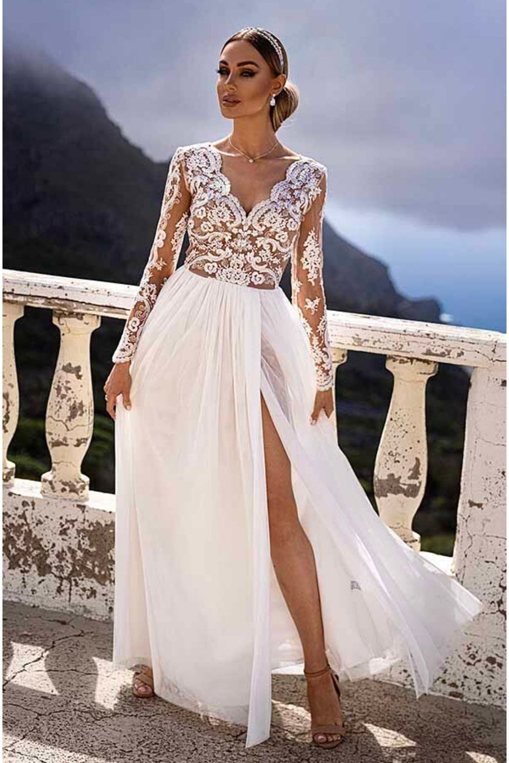 White nude lace and tulle formal dress