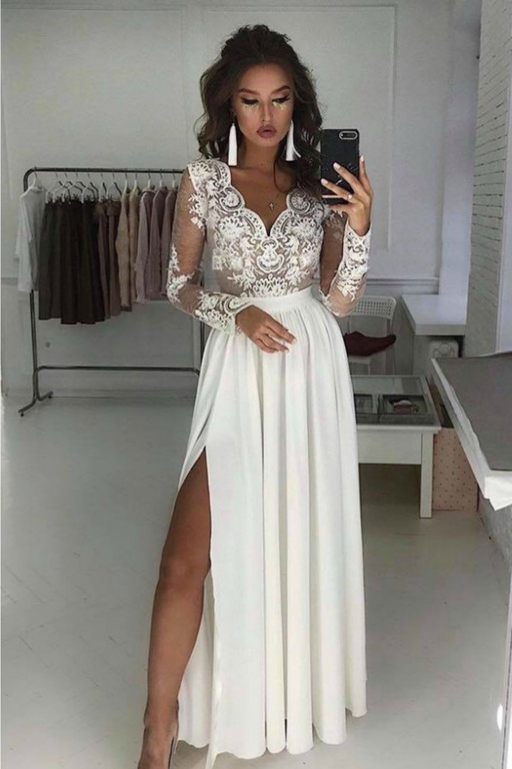 White nude lace formal dress