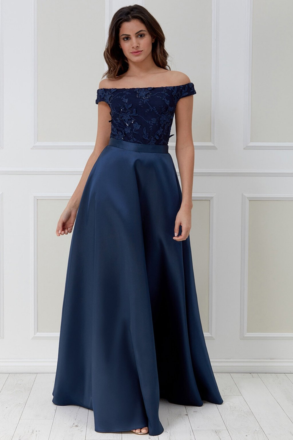Navy pink formal dress with flowers
