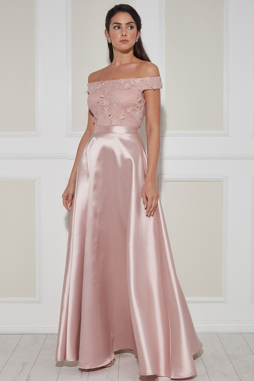 Dusty pink formal dress with flowers