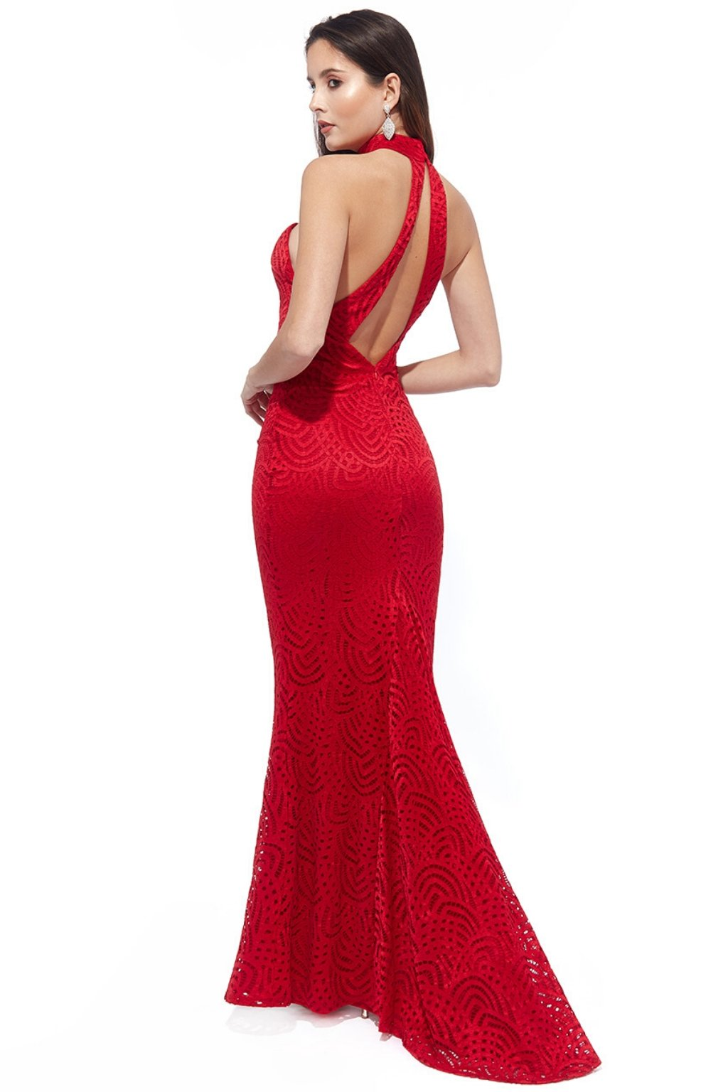 Red bodycon backless formal dress