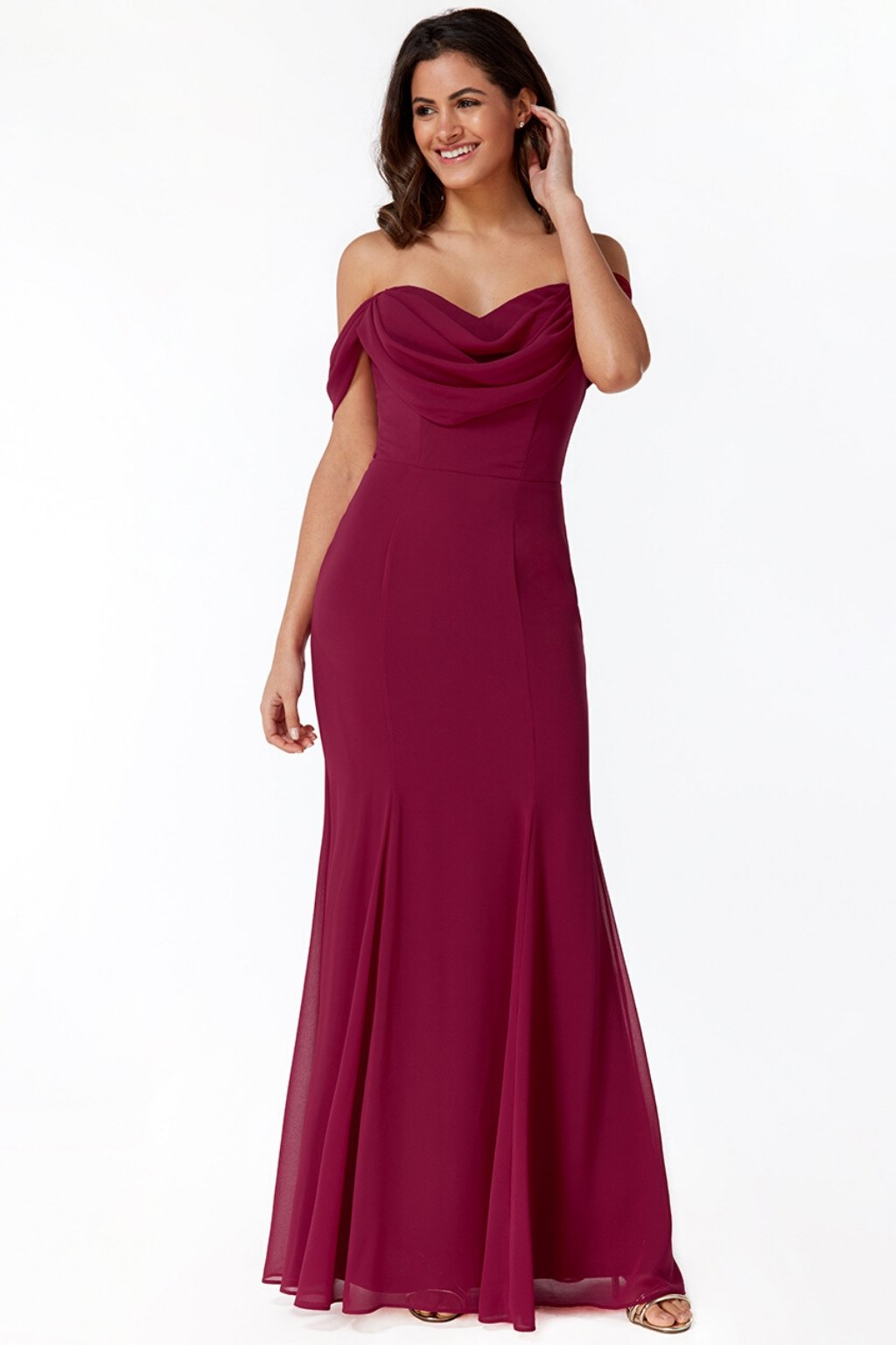 Raspberry chiffon off-the-shoulders formal dress