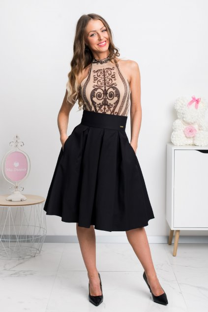 Black a-line short skirt
