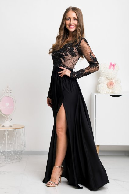 Black lace and satin formal dress