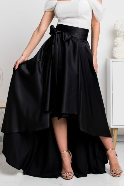 Black satin asymmetric skirt