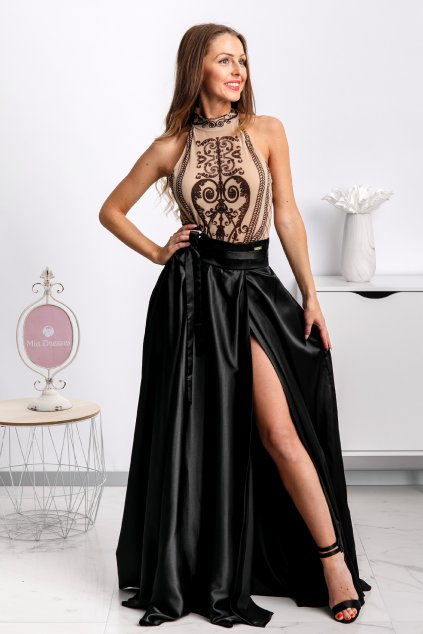 Black satin split skirt