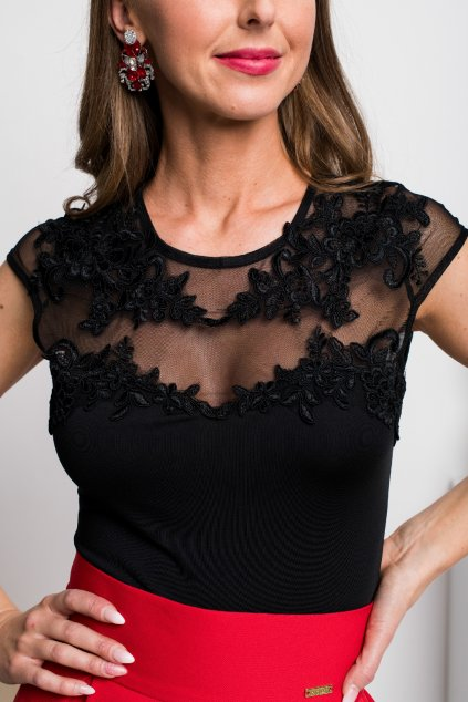 Black tulle embroidered floral bodysuit