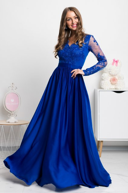 Blue lace and satin formal dress