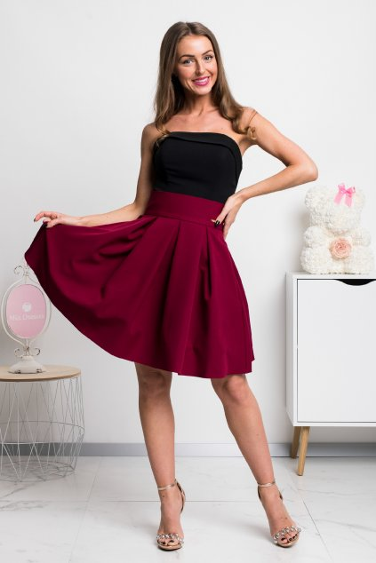 Burgundy a-line mini skirt
