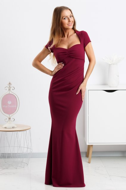 Burgundy formal dress with cut neckline