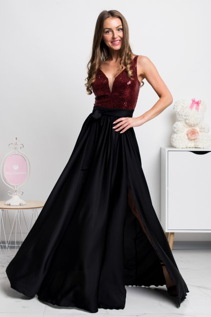 Burgundy satin sequin formal maxi dress