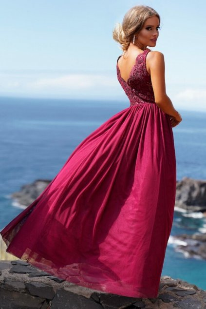 Burgundy tulle split formal dress