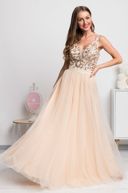 Cream gold lace formal dress