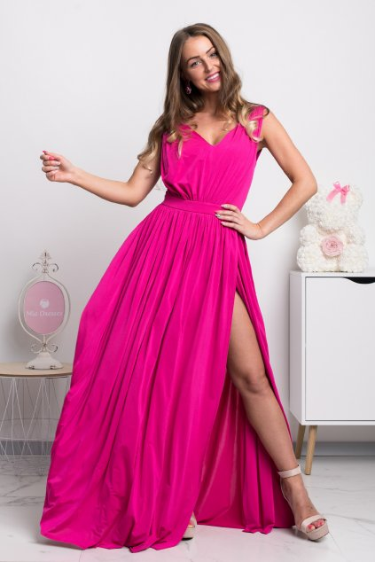 Cyclamen split formal dress