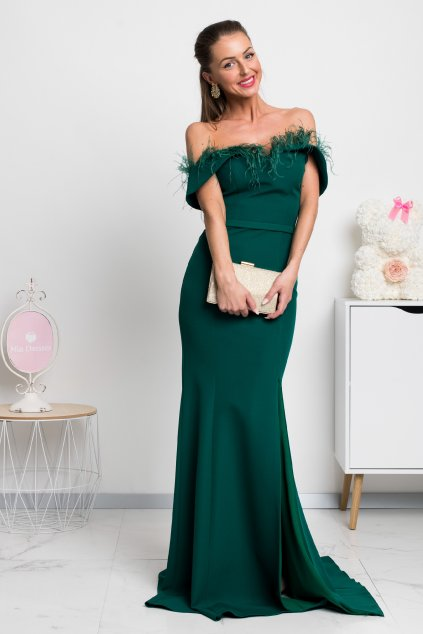 Emerald formal dress with feathers