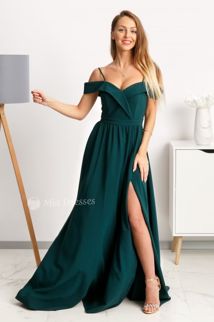 Emerald off-the-shoulders formal dress