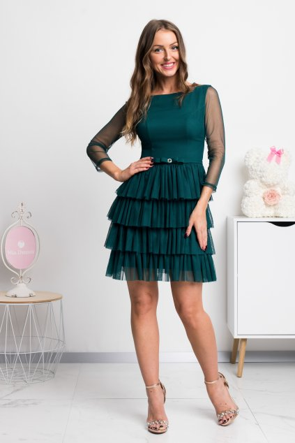 Green tulle pleated short dress
