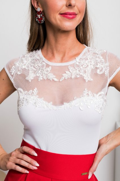 White tulle embroidered floral bodysuit
