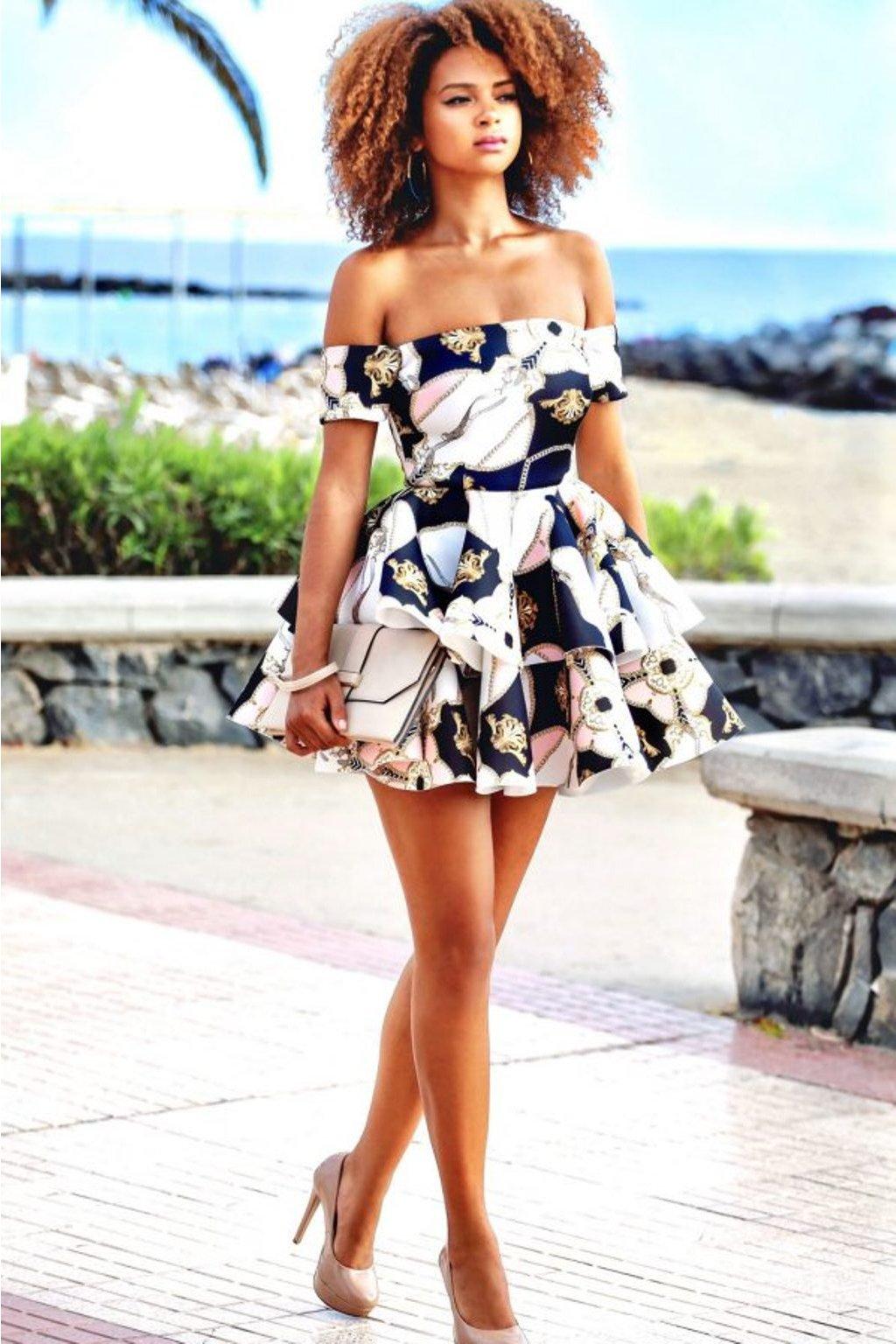 Farebné vzorované mini šaty