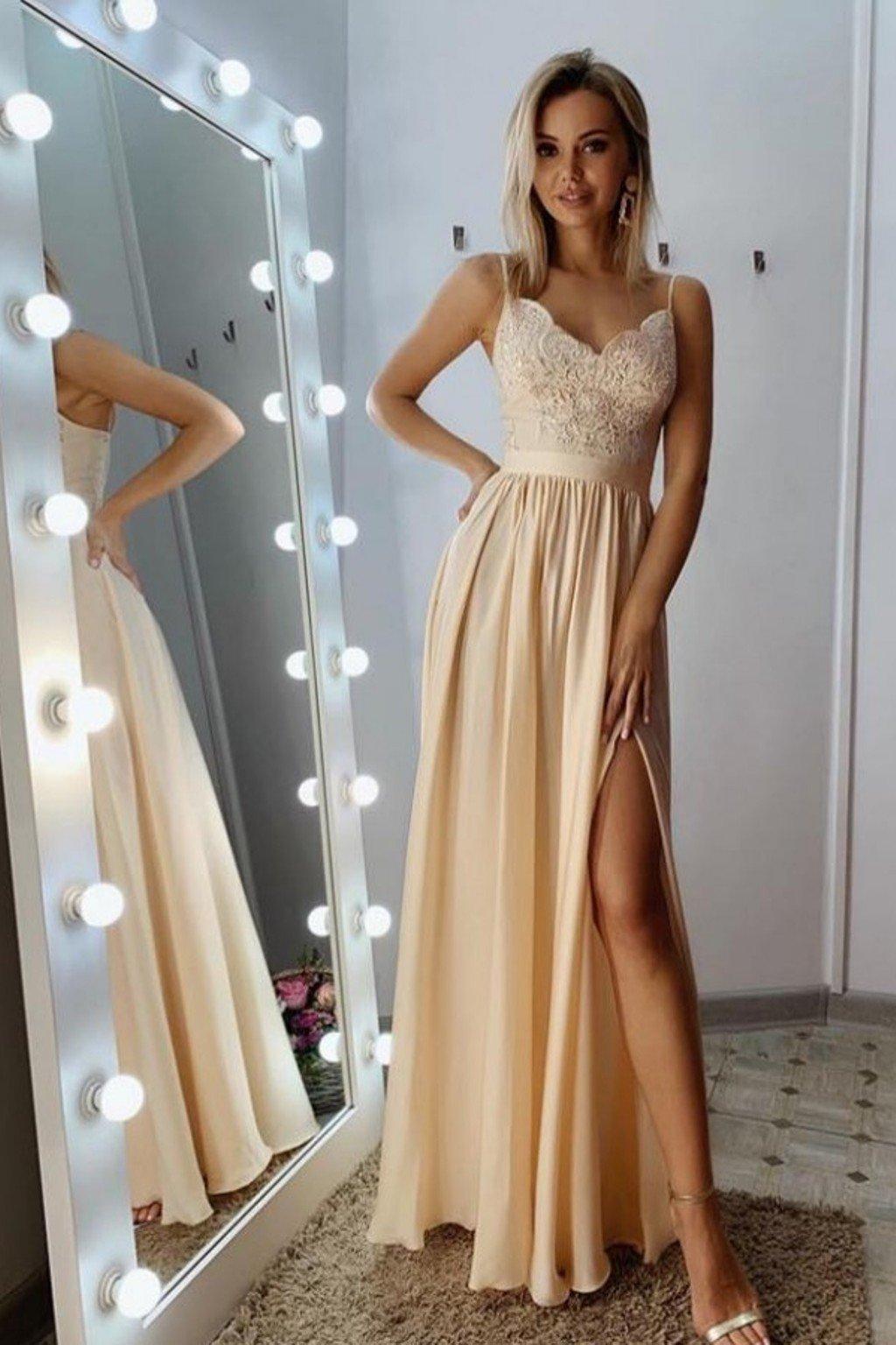 Telové spoločenské šaty s flitrami a saténovou sukňou
