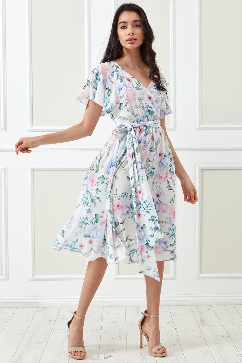 Biele kvetinové midi šaty