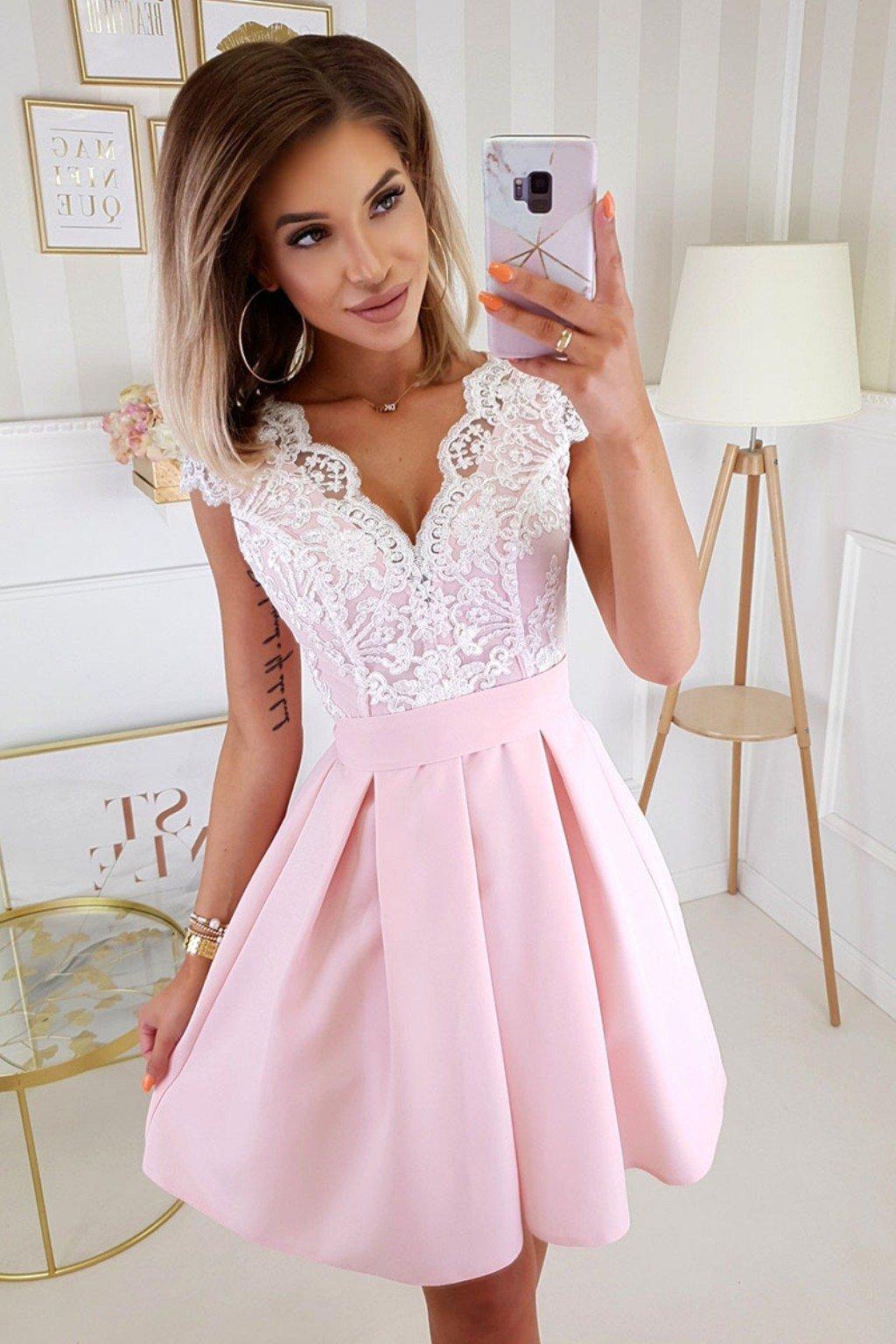 Ružovo-biele spoločenské mini šaty s áčkovou sukňou