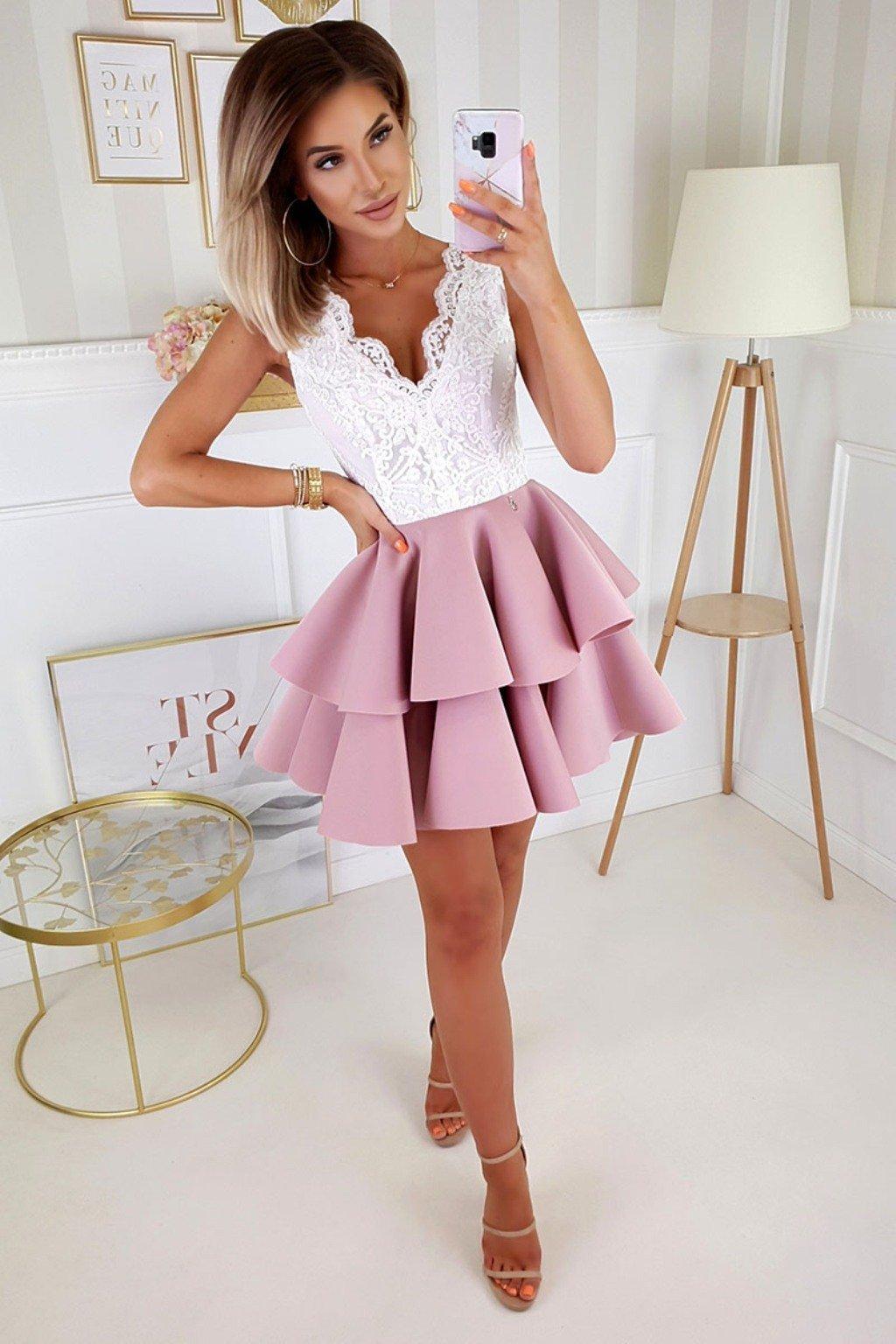 Bielo-ružové spoločenské mini šaty s krajkou