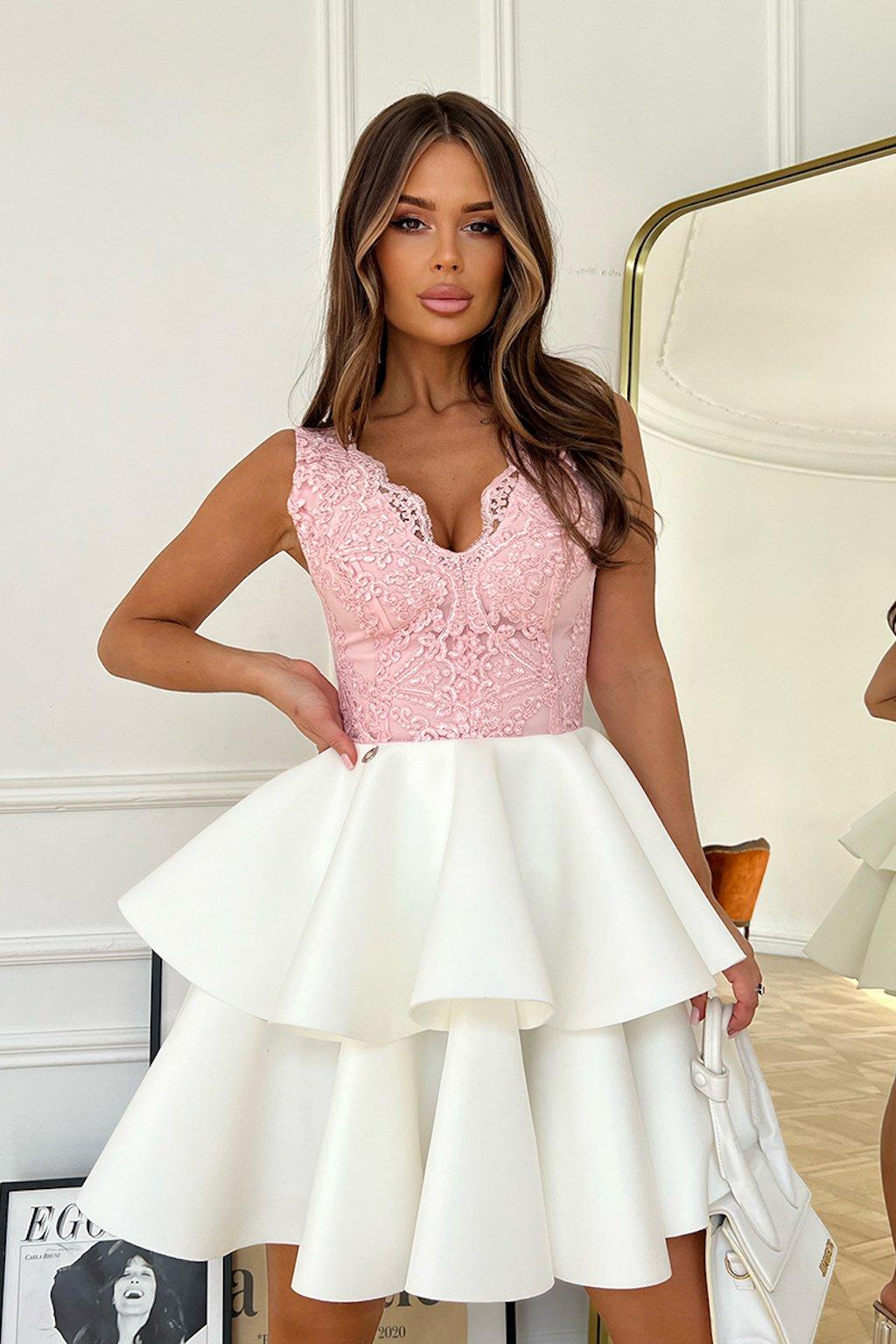 Ružovo-biele spoločenské mini šaty s krajkou