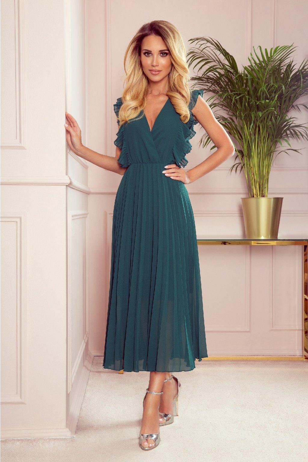 Zelené midi šaty so skladanou sukňou