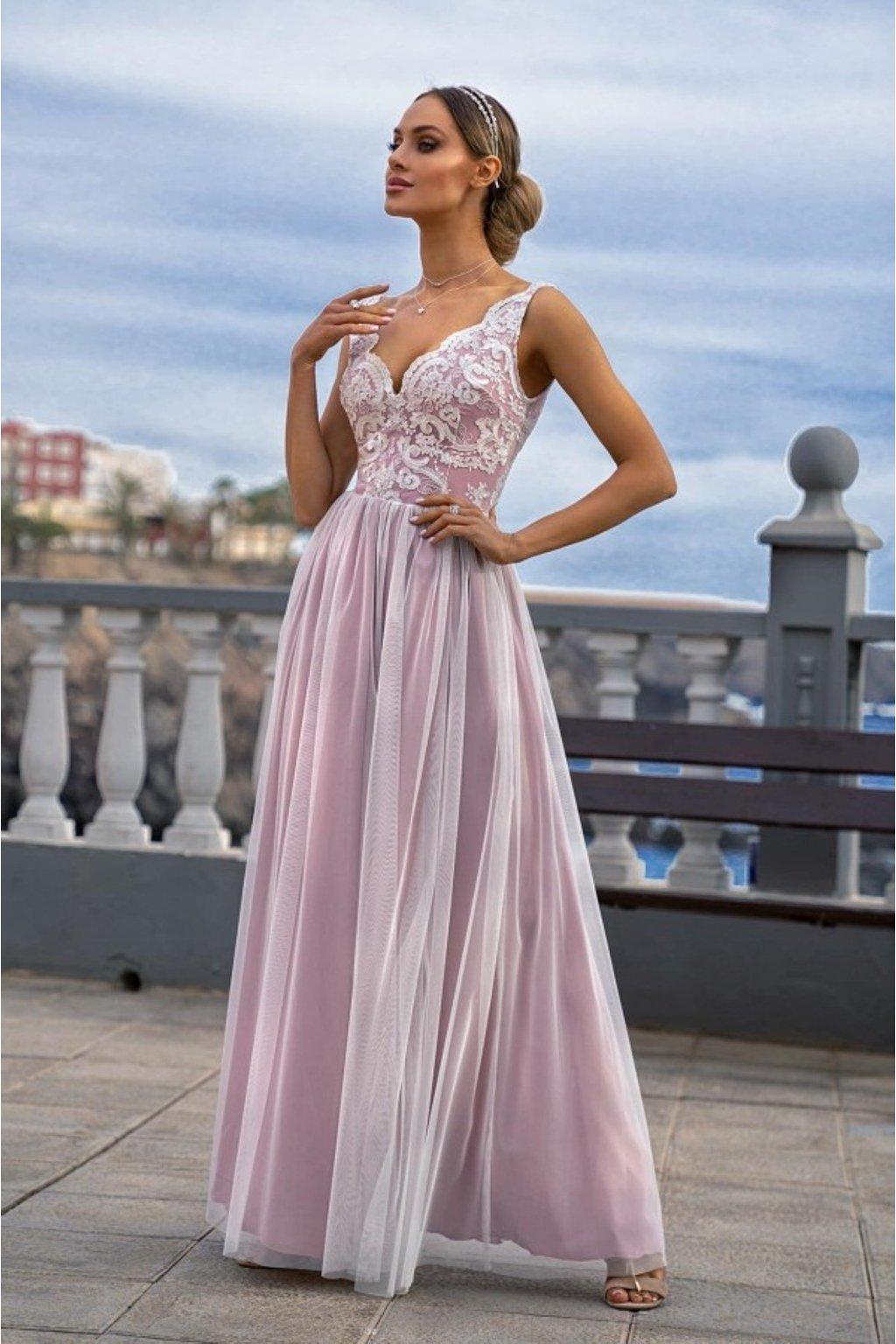 Bielo-ružové spoločenské šaty s tylovou sukňou a rozparkom