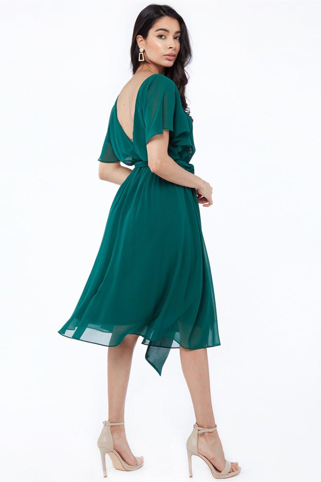 Zelené šifónové midi šaty s výstrihom na chrbte