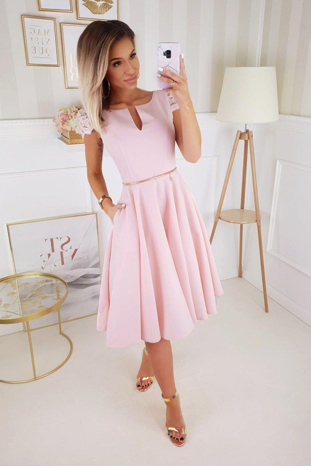 Svetloružové spoločenské midi šaty