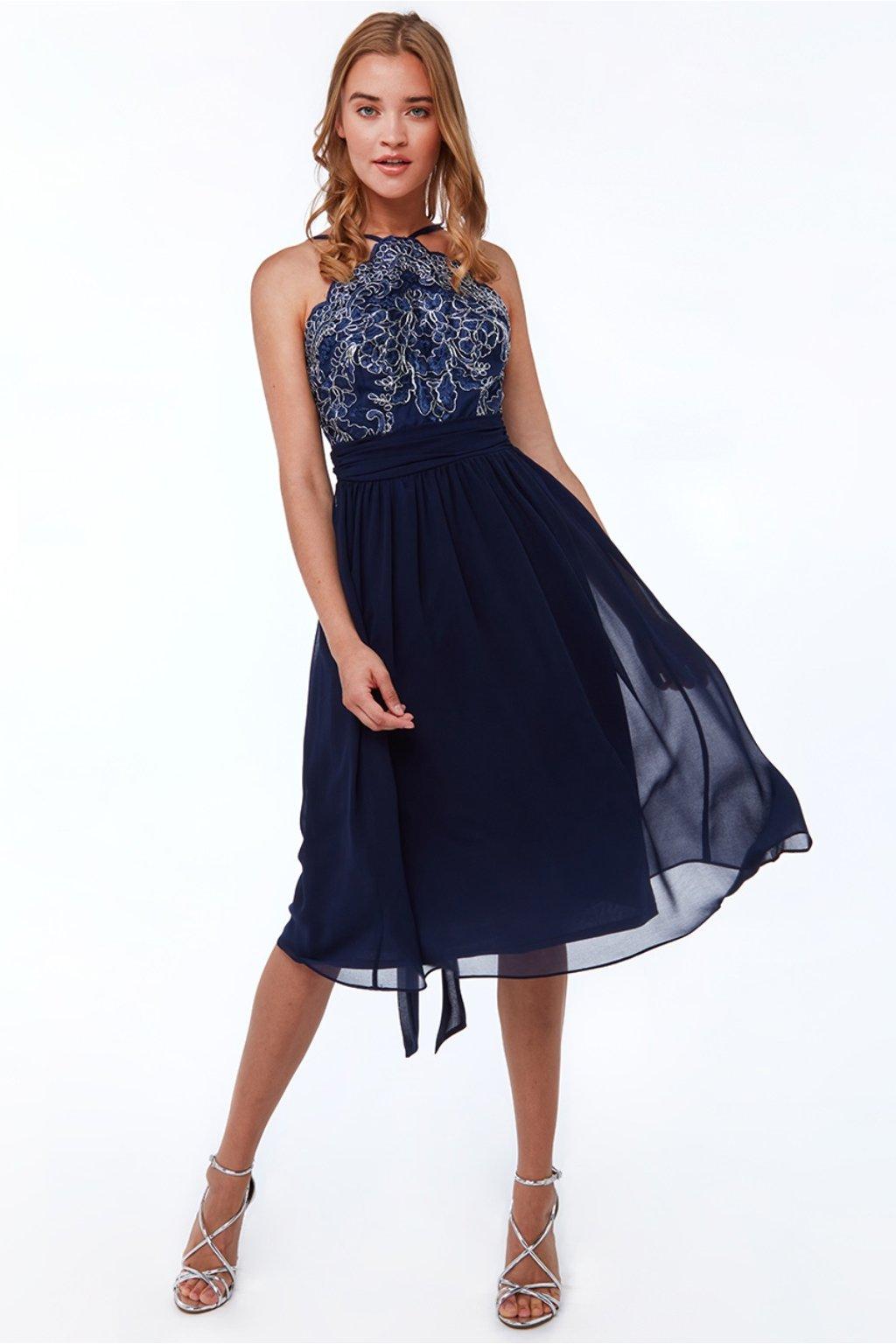 Tmavomodré šifónové midi šaty s krajkou