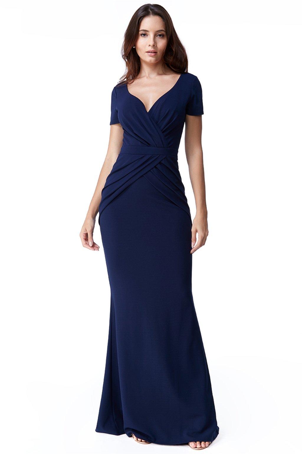Tmavomodré priliehavé šaty s riasením