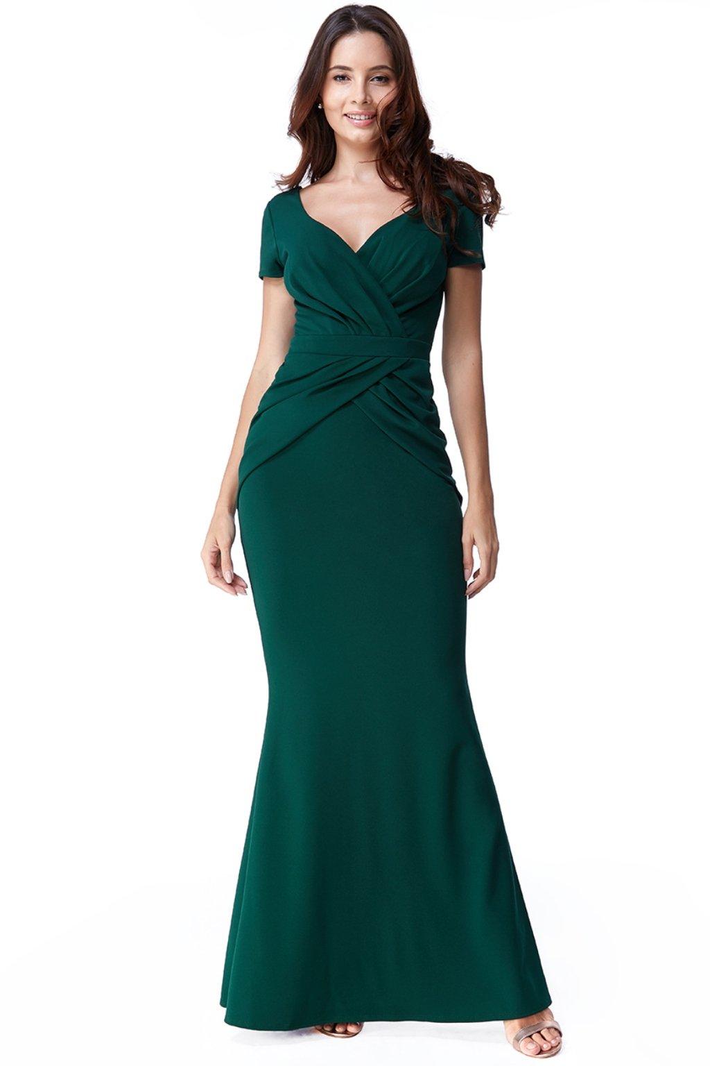 Zelené priliehavé šaty s riasením