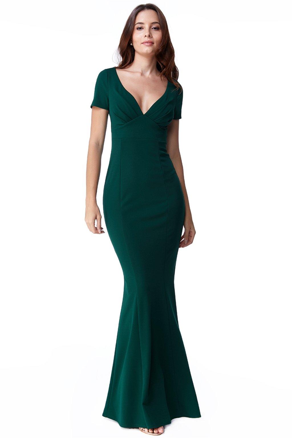 Zelené priliehavé šaty s výstrihom v tvare V