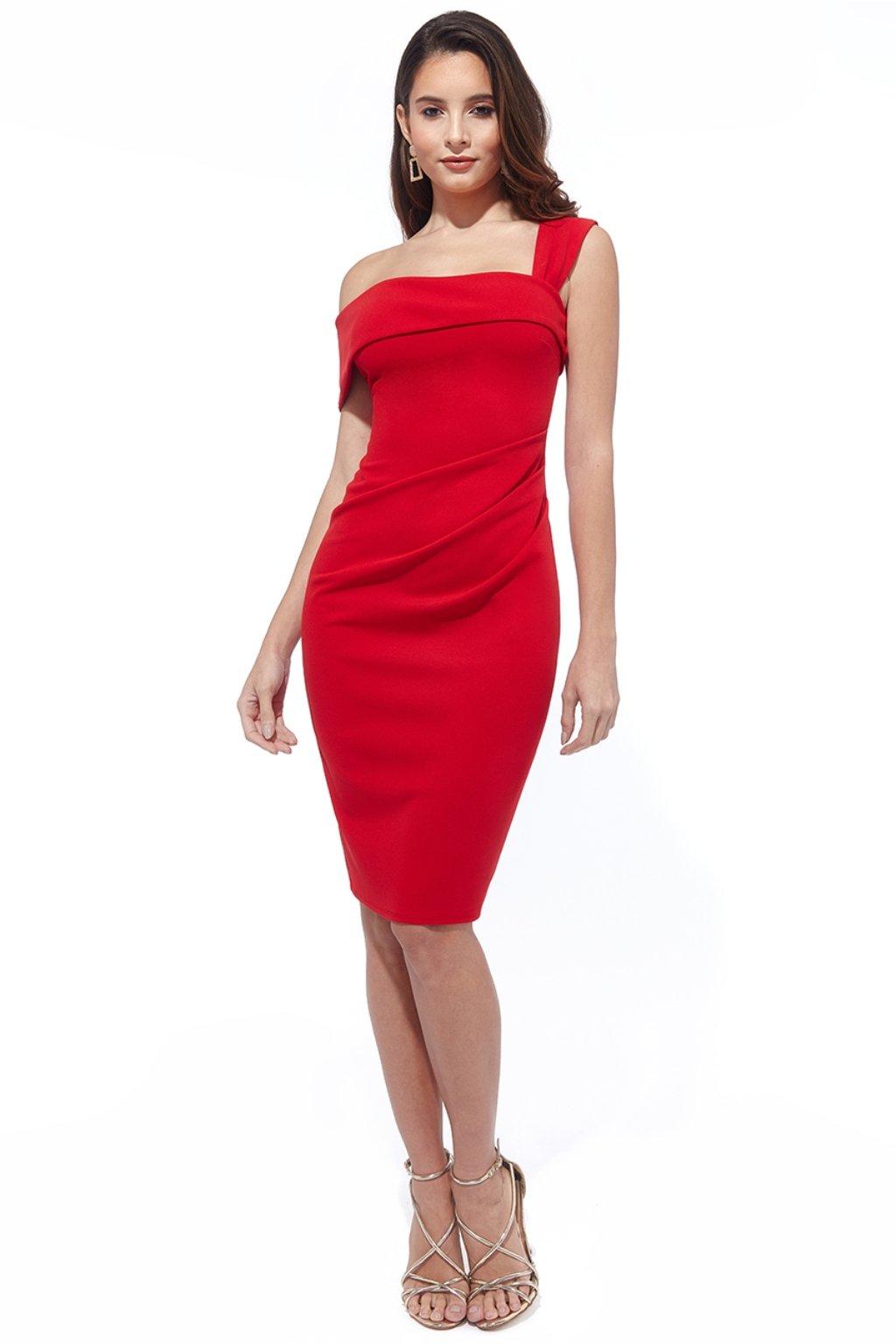 Červené priliehavé midi šaty
