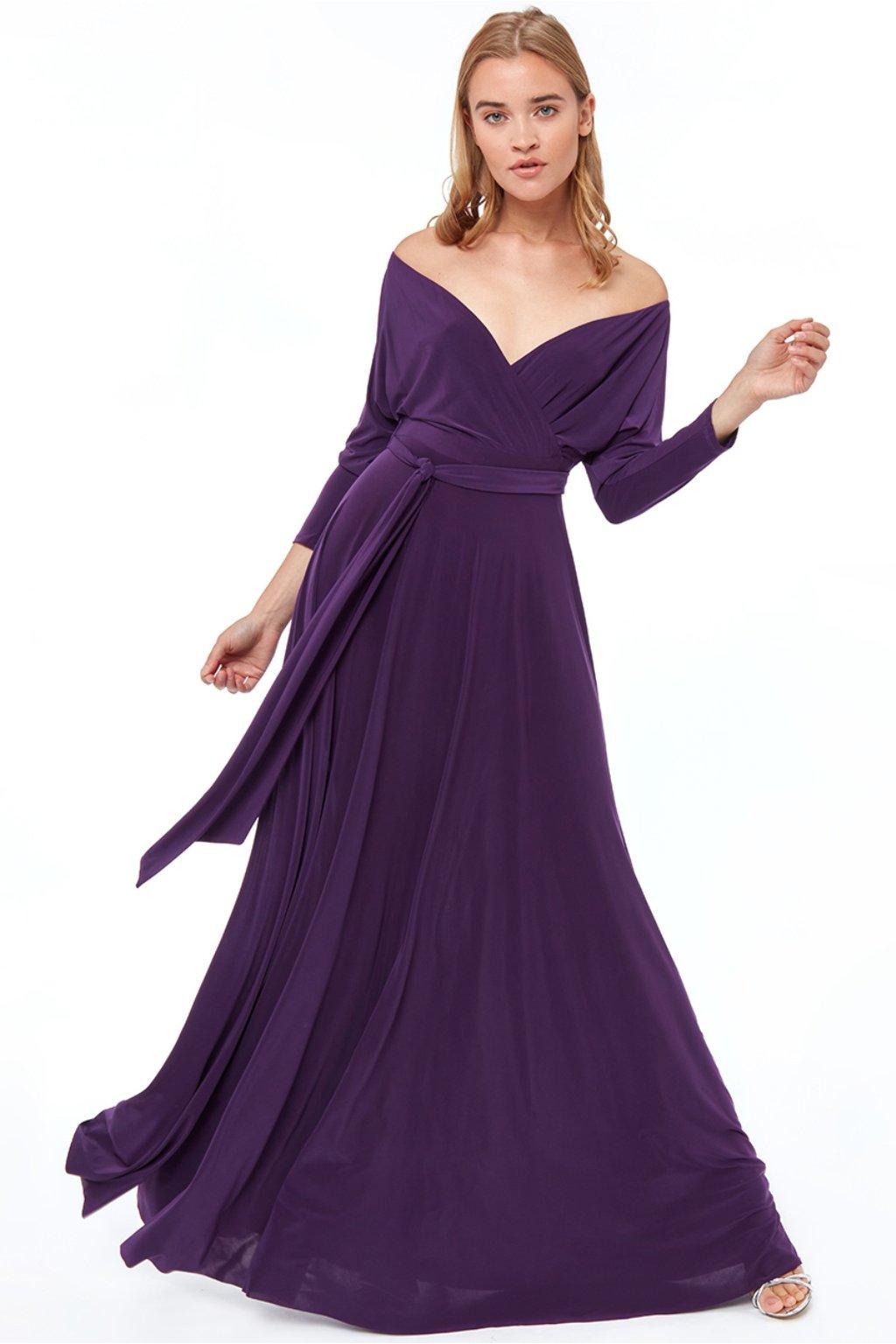 Fialové spoločenské šaty s dlhými rukávmi
