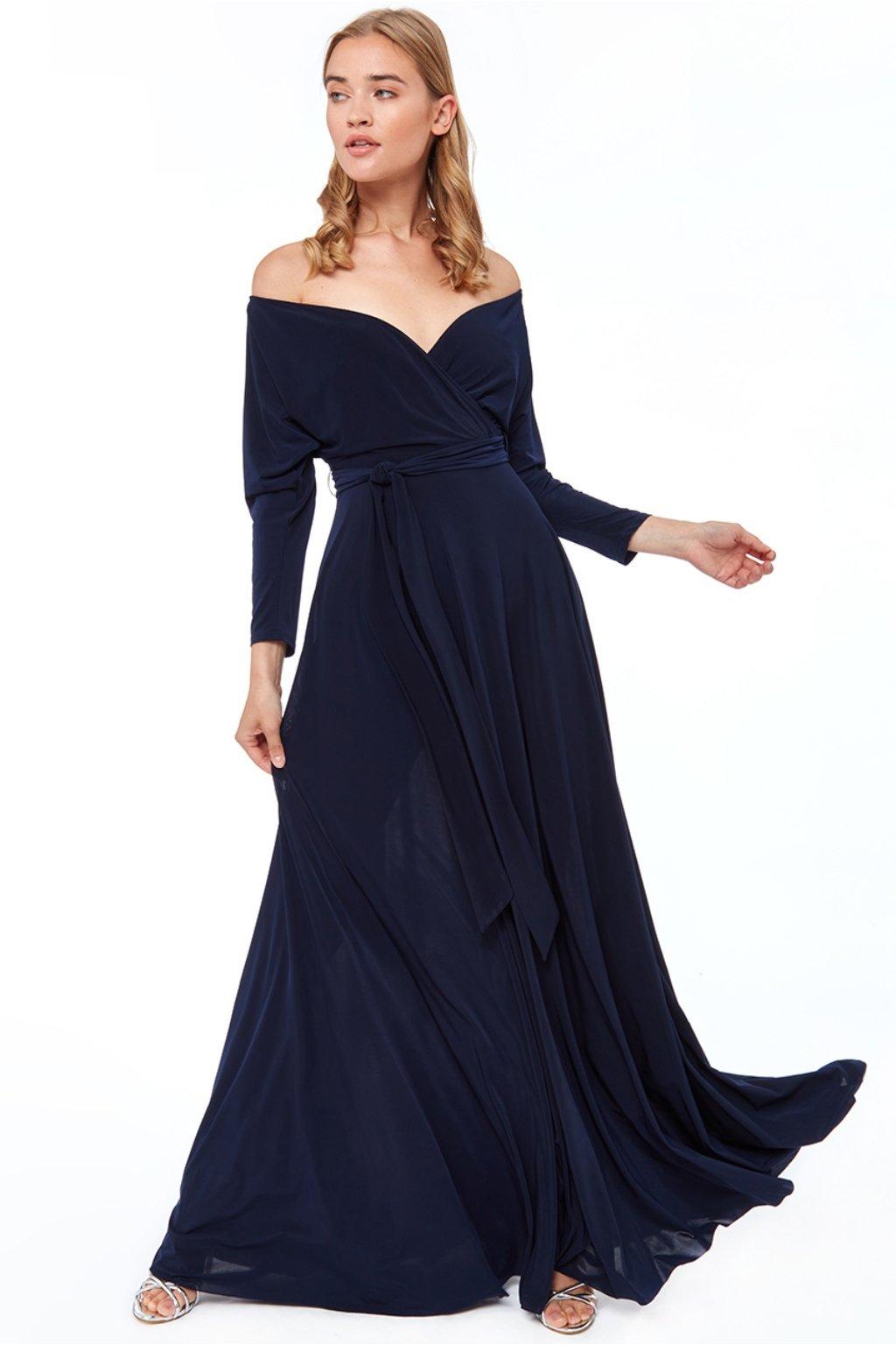 Tmavomodré spoločenské šaty s dlhými rukávmi