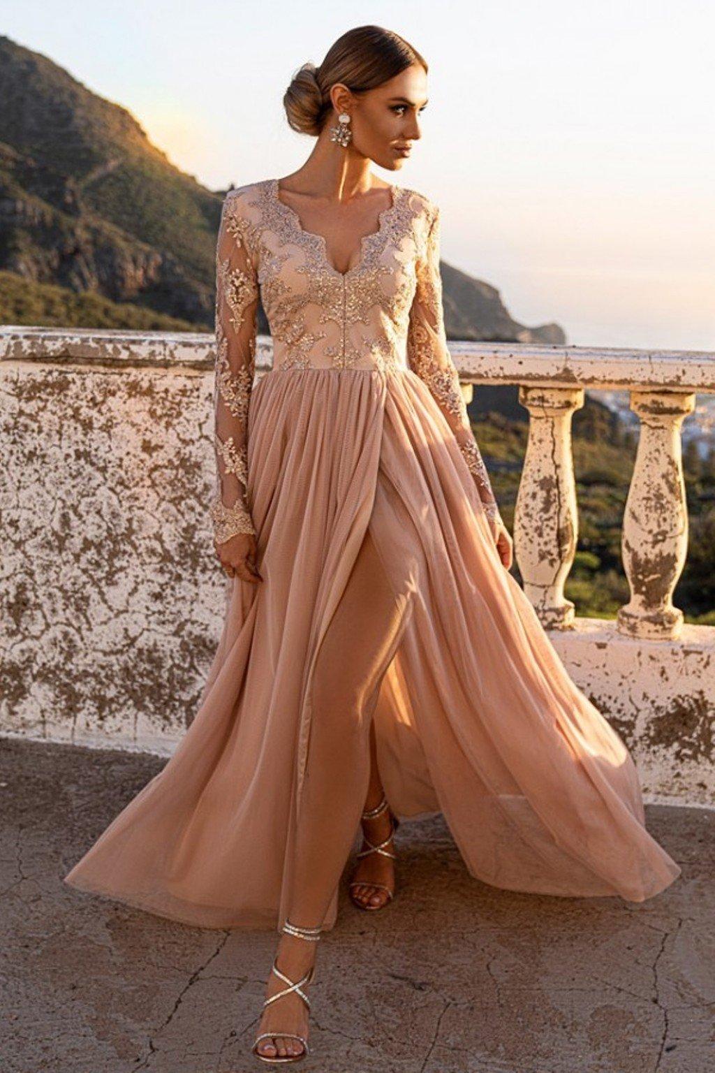 Krémové spoločenské šaty s krajkou a tylovou sukňou