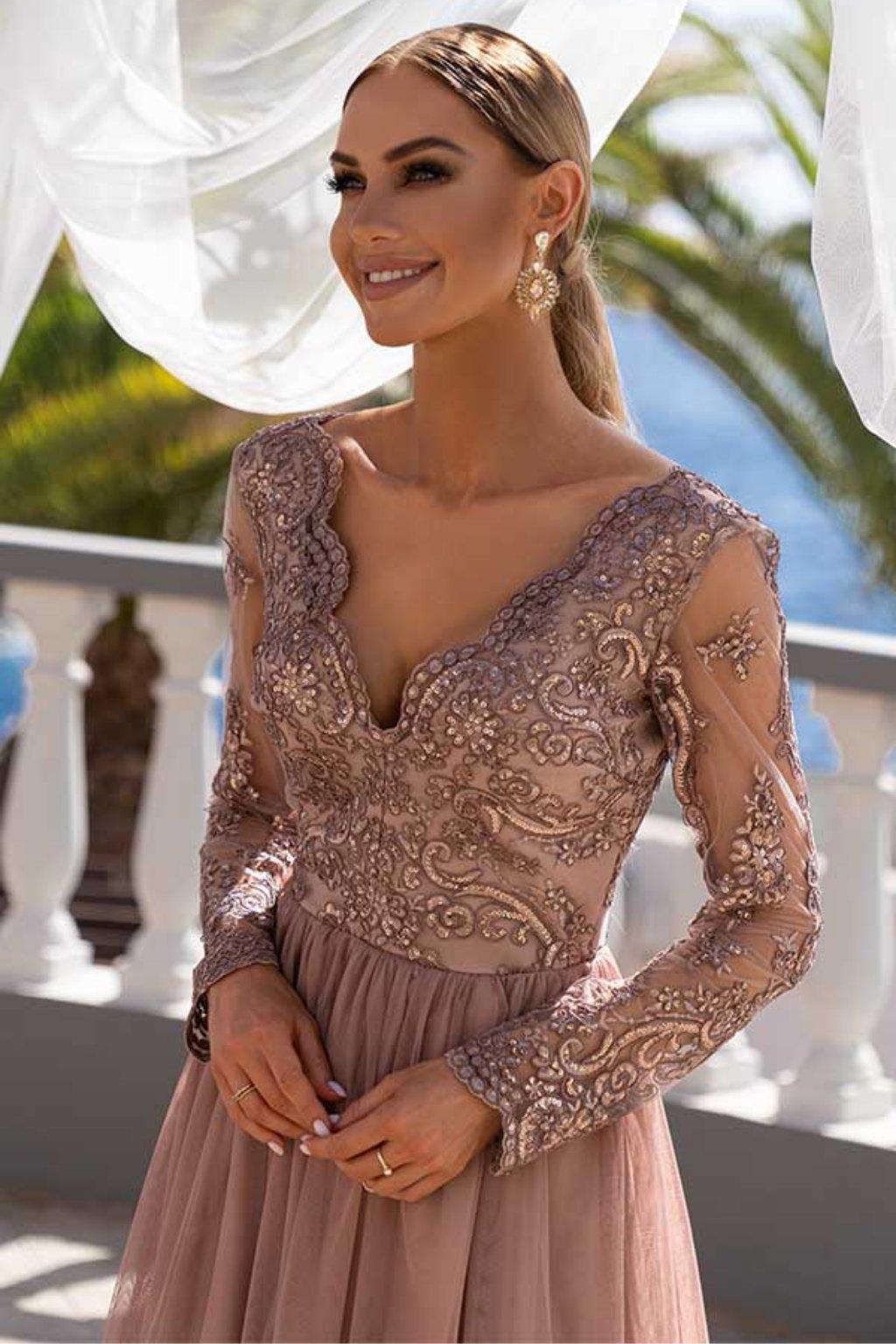 Medené spoločenské šaty s krajkou a tylovou sukňou