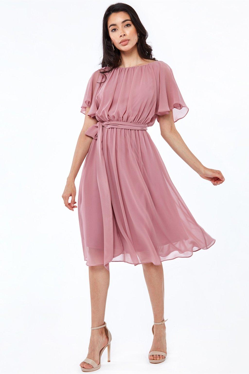 Staroružové šifónové midi šaty s výstrihom na chrbte