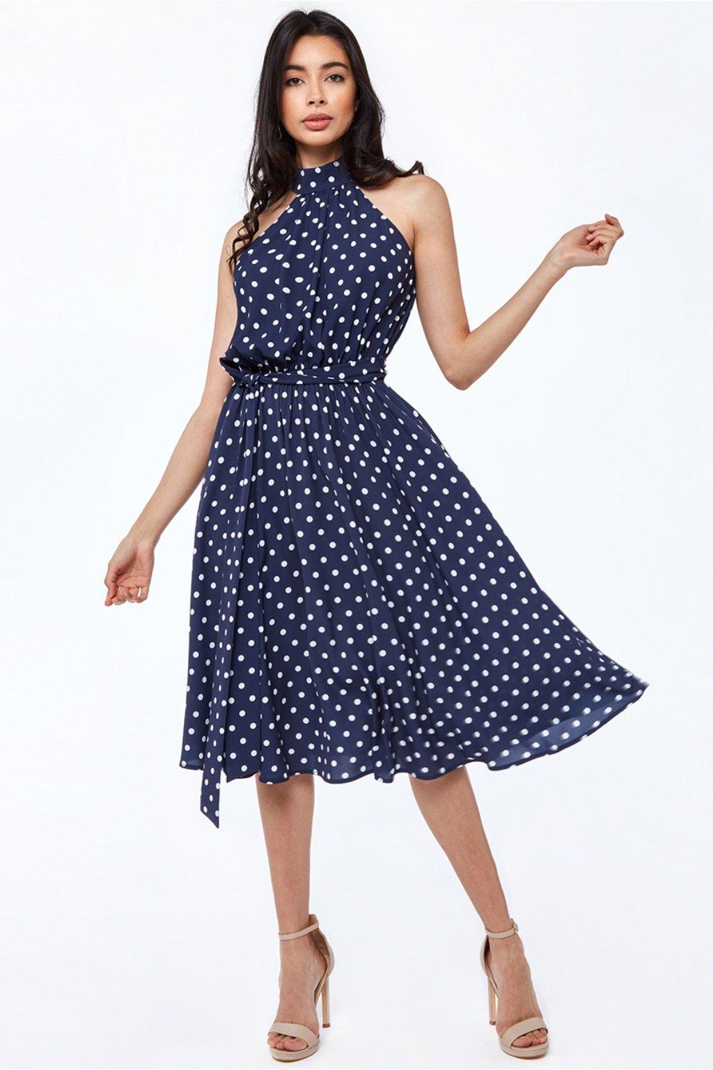 Tmavomodré bodkované midi šaty