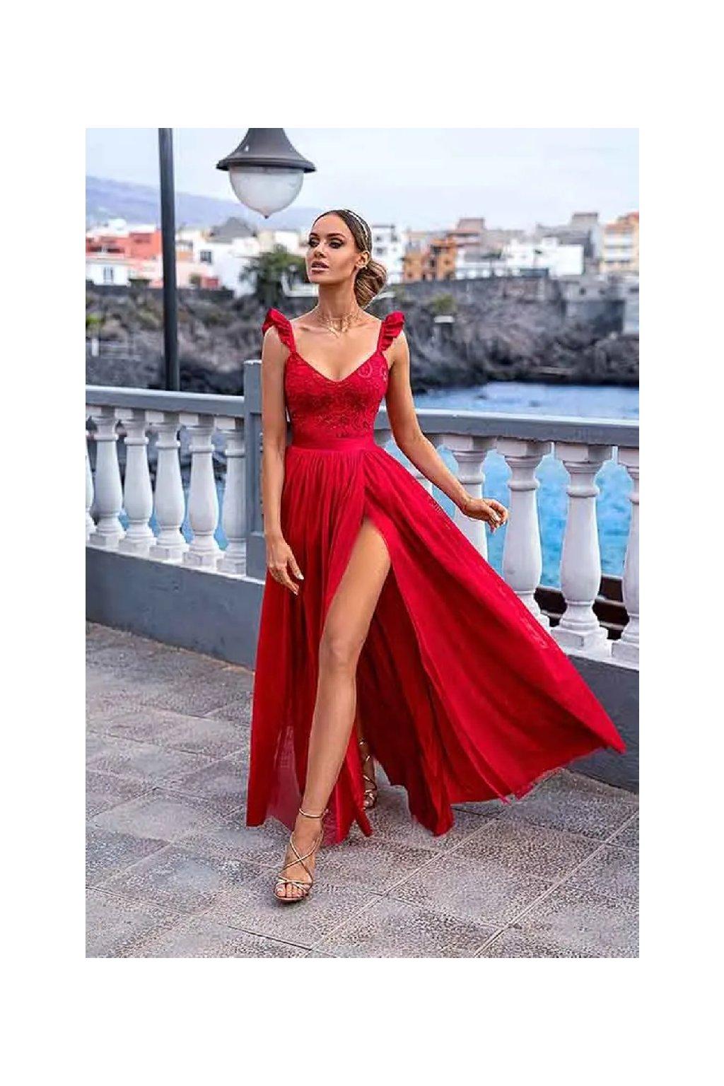 Červené spoločenské šaty s volánikmi a odhaleným chrbtom