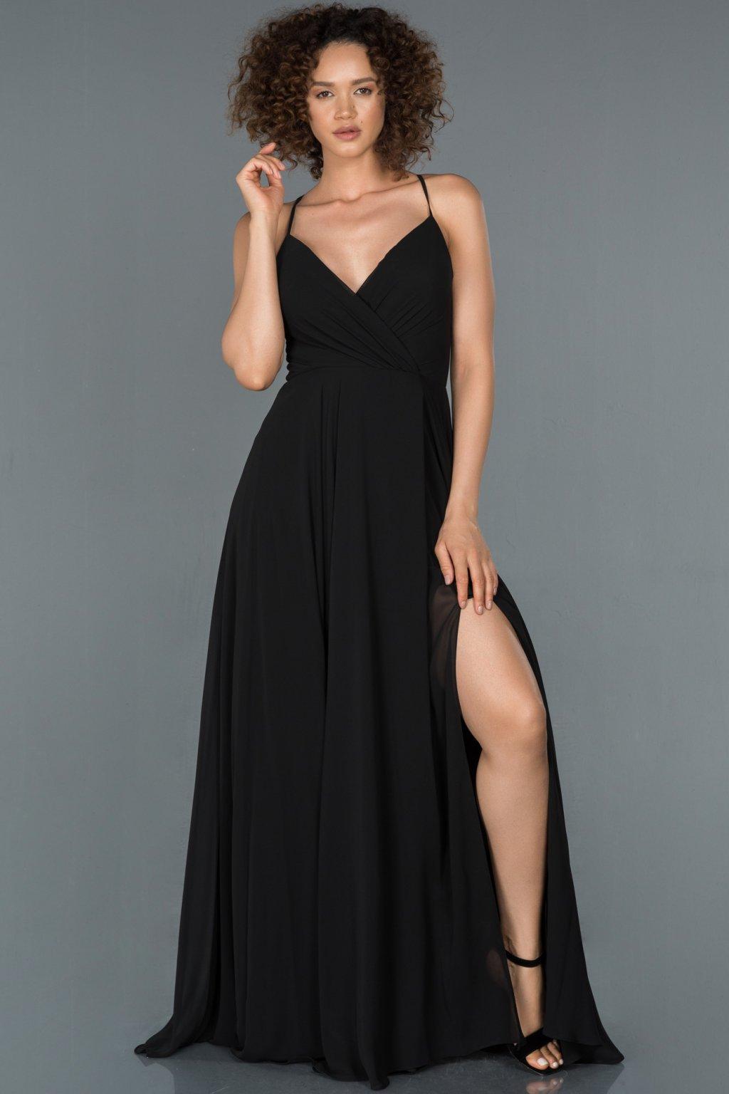 Čierne spoločenské šaty s viazaním na chrbte