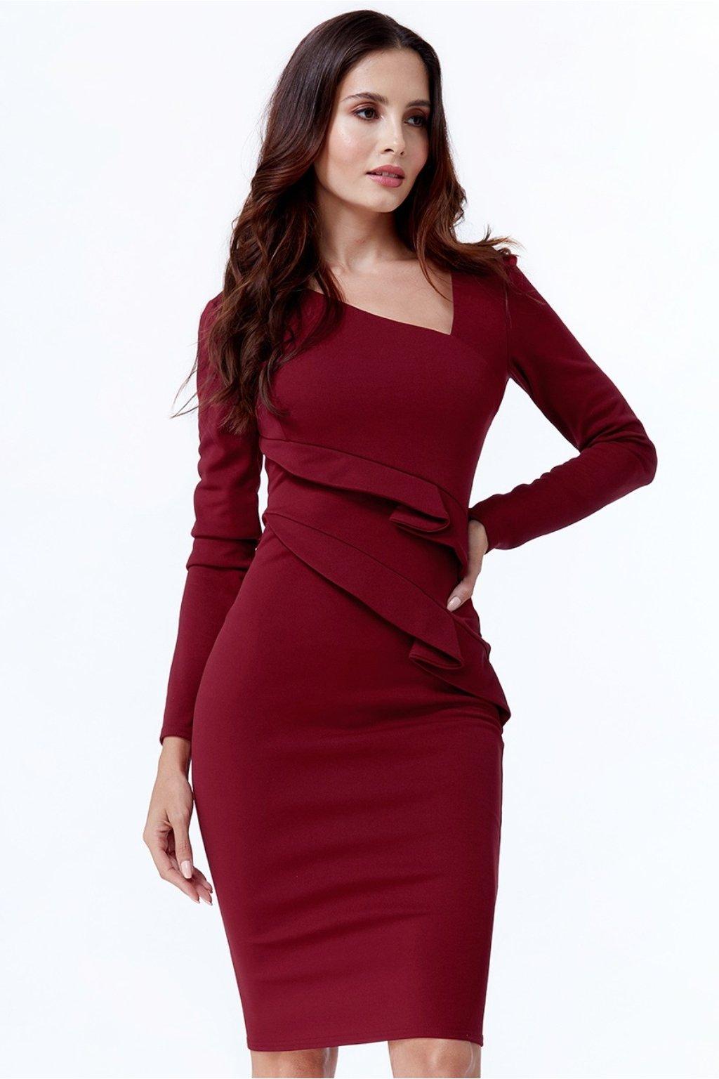 Bordové midi šaty s dlhými rukávmi