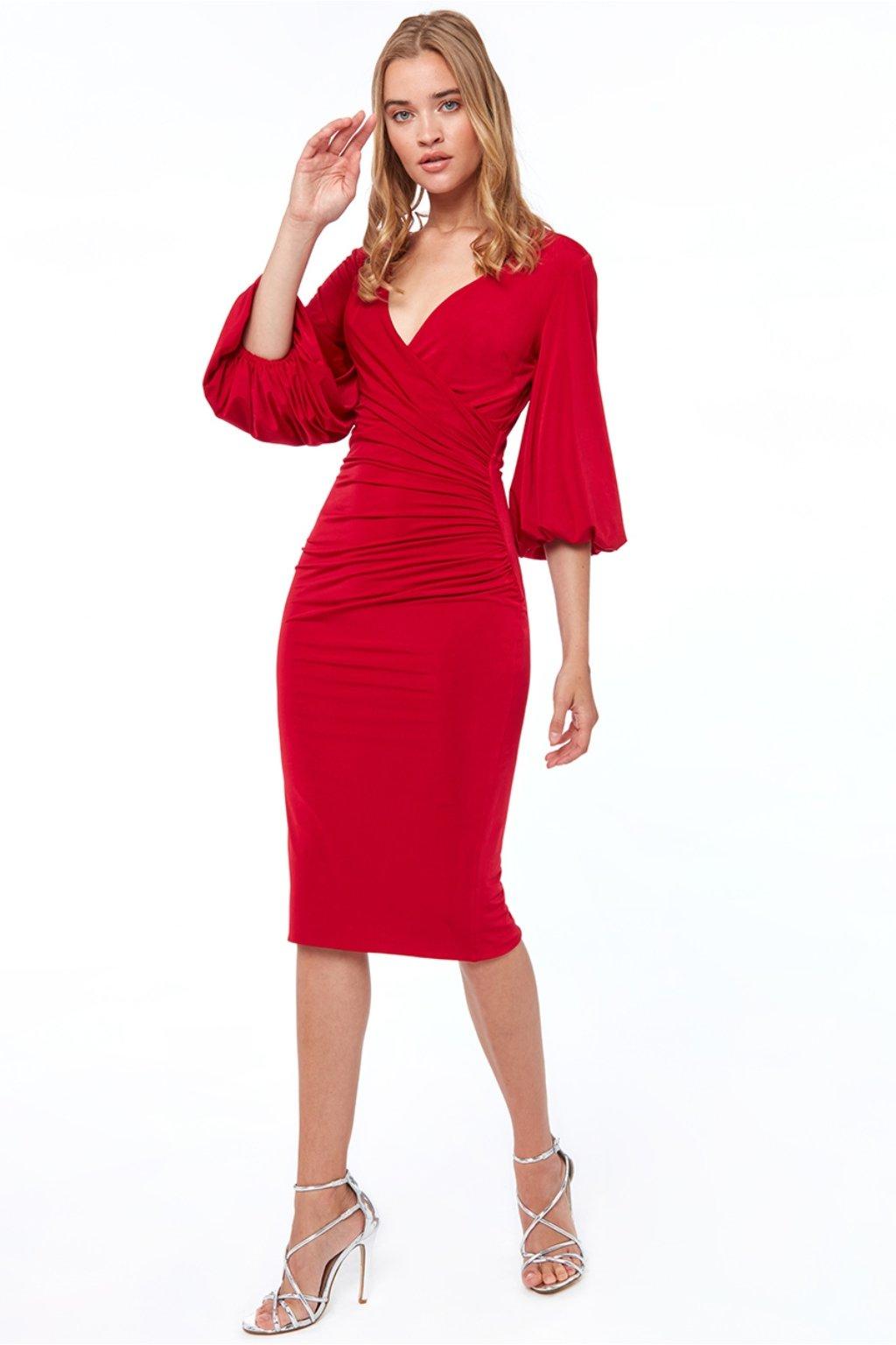 Červené priliehavé midi šaty s voľnými rukávmi