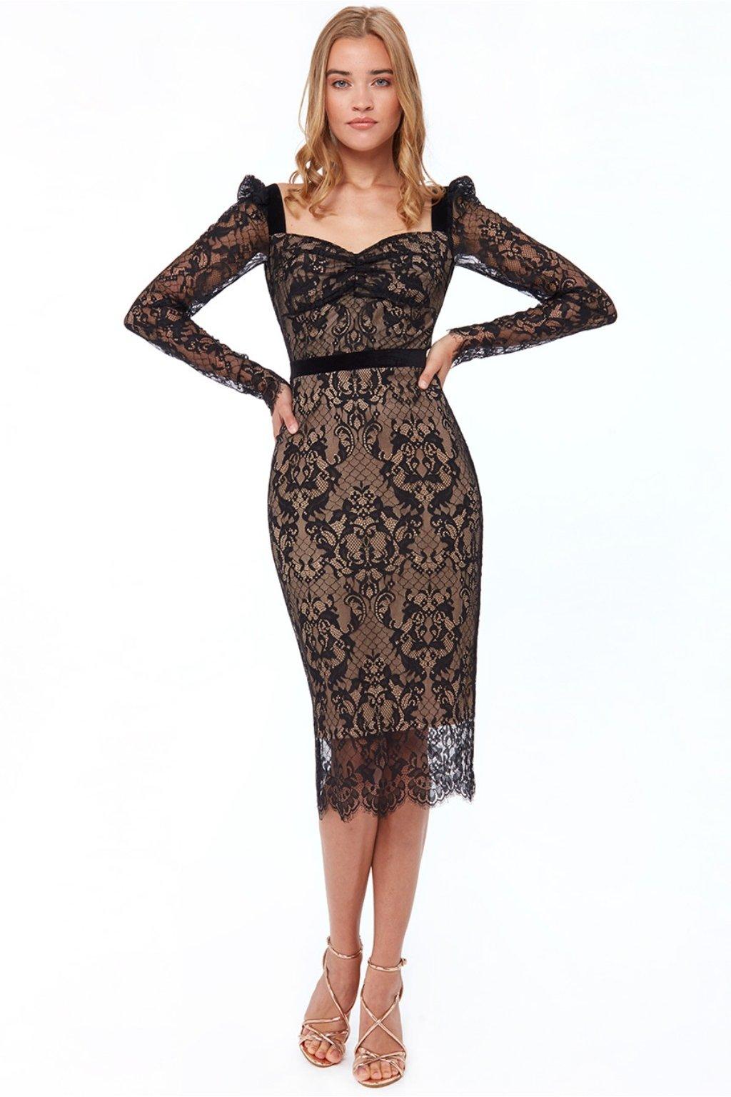Čierne čipkované midi šaty